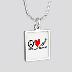 Peace, Love, Trumpet Silver Square Necklace
