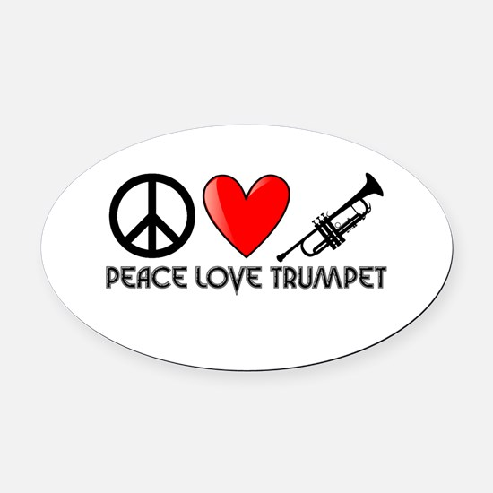 Peace, Love, Trumpet Oval Car Magnet