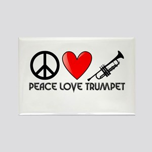 Peace, Love, Trumpet Rectangle Magnet