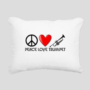 Peace, Love, Trumpet Rectangular Canvas Pillow