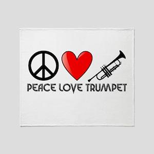 Peace, Love, Trumpet Throw Blanket