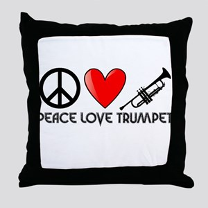 Peace, Love, Trumpet Throw Pillow