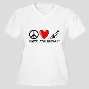 Peace, Love, Trumpet Plus Size T-Shirt