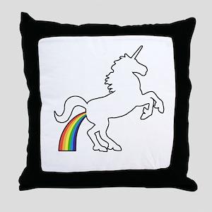 Unicorn Rainbow Poo Throw Pillow
