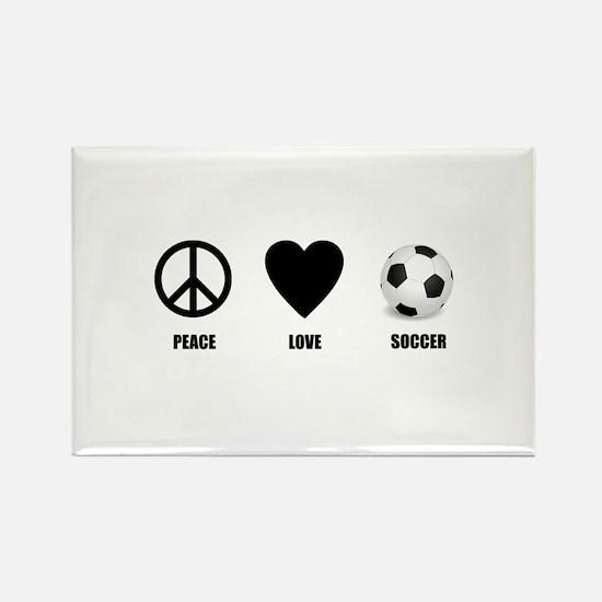 Peace Love Soccer Rectangle Magnet (10 pack)