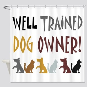 dog owner dogs_in_row Shower Curtain