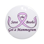 Save the Boobs Ornament (Round)