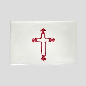 Pretty red christian cross 3 L v Rectangle Magnet