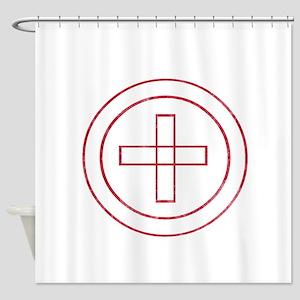 Pretty red christian cross 4 U F Shower Curtain