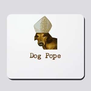 Dog Pope Red Dachsund with pontiff hat Mousepad