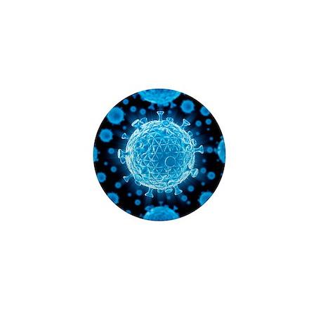 HIV virus particles, artwork - Mini Button