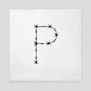 Barbed Wire Monogram P Queen Duvet