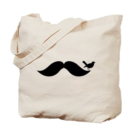 Bird On Mustache Tote Bag