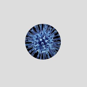 H1N1 flu virus particle, artwork - Mini Button