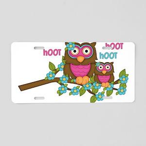 Hoot Owls Aluminum License Plate