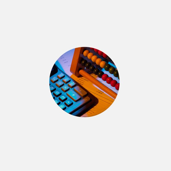 Abacus and calculator - Mini Button