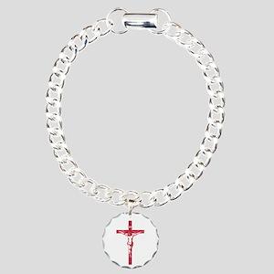 Pretty red christian cross 5 L y Bracelet