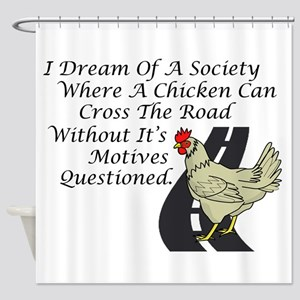 Chicken Crossing The Road Shower Curtain