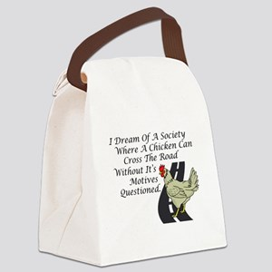Chicken Crossing The Road Canvas Lunch Bag