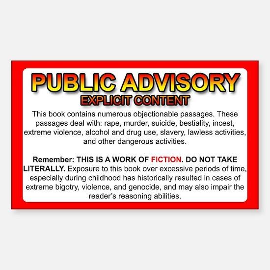 Bible Sticker: Public Advisory