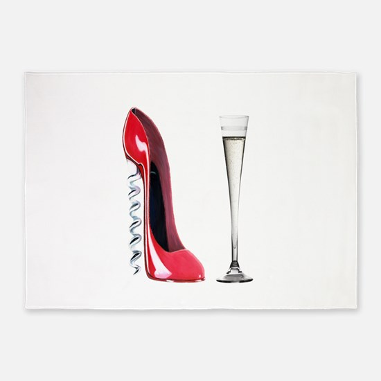 Corkscrew Red Stiletto and Champagne Art 5'x7'Area
