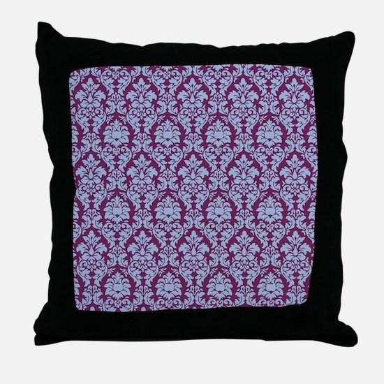 Cerulean & Alyssum Damask Throw Pillow