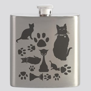 Black Cat Collage Flask