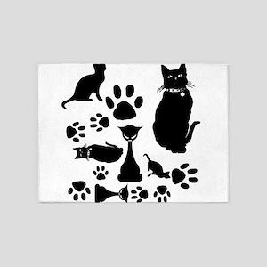 Black Cat Collage 5'x7'Area Rug