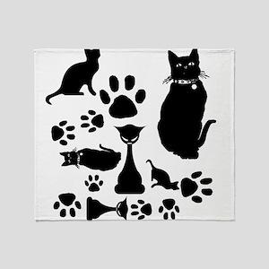 Black Cat Collage Throw Blanket