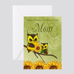 Mom Birthday On Mother's Day Greeting Card With Ow
