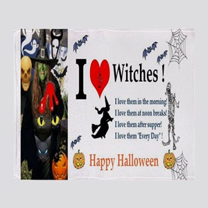 Halloween Witch Love Throw Blanket