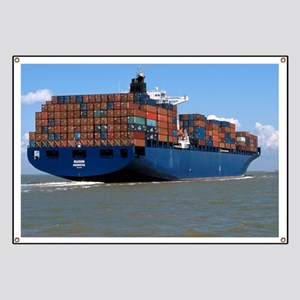 Container ship at sea - Banner