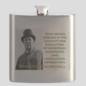 True Genius Resides - Churchill Flask
