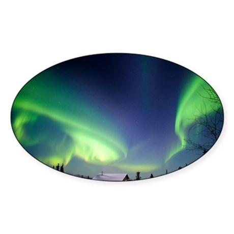 Aurora borealis in Alaska - Sticker (Oval 10 pk)