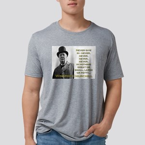 Never Give In - Churchill Mens Tri-blend T-Shirt