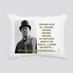 Never Give In - Churchill Rectangular Canvas Pillo