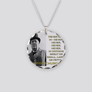 Never Give In - Churchill Necklace Circle Charm