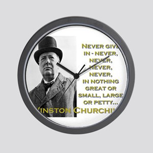 Never Give In - Churchill Wall Clock