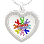 All Cancers Suck Silver Heart Necklace