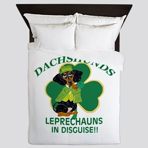 Dachshunds Are Leprechauns In Disquise Queen Duvet