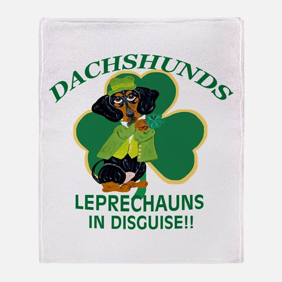 Dachshunds Are Leprechauns In Disqui Throw Blanket