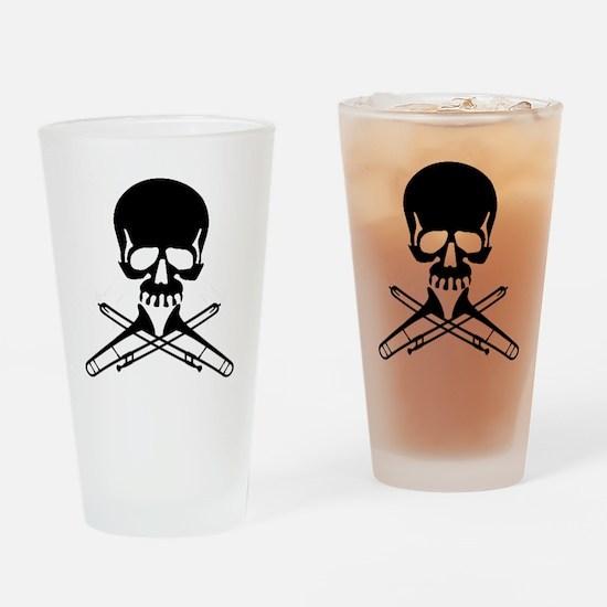 Skull with Trombones Drinking Glass
