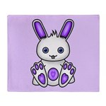 Kawaii Purple Bunny Throw Blanket