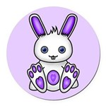 Kawaii Purple Bunny Round Car Magnet