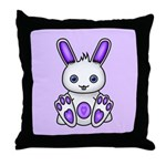 Kawaii Purple Bunny Throw Pillow