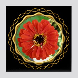 Zinnia Black Tile Coaster
