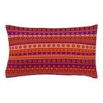 Purple and Orange Stripy Pattern Pillow Case