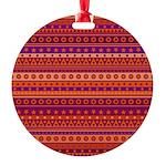 Purple and Orange Stripy Pattern Ornament