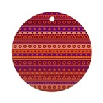 Purple and Orange Stripy Pattern Ornament (Round)