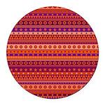 Purple and Orange Stripy Pattern Round Car Magnet